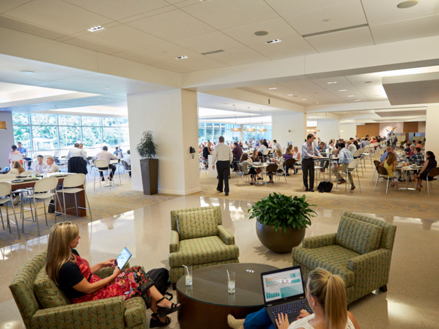 One cafeteria, the Marketplace, features tons of options, including fresh fish, stir fry, and pizza. The food is subsidized, and employees can pick up free beverages in the café lines. Snacks found on every floor in every building are also free.