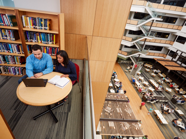 SAS employees can tap into their creativity by reading through some of the 10,000 books in the campus' library, which it shares with local colleges.