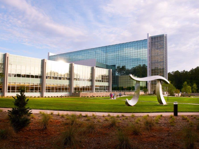 SAS is the largest employer in Cary, North Carolina. There, its headquarters inhabits a sprawling and lush 900-acre campus. The space tends to draw on the company's collegiate roots.
