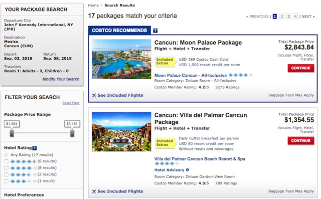 You can also buy vacation packages: flights, hotels, and transfers or trips to theme parks.