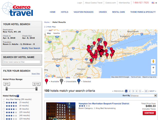 The first section of the site is hotels. You can search by a destination and find somewhere to stay, even if it's that same day. We checked out a weekend in New York City in April.