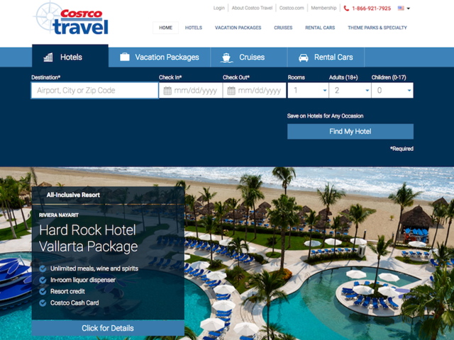 Costco's travel site offers its members a selection of deals from flights to cruises and rental cars.