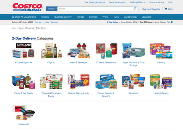 The shipping policies are also slightly different. Costco offers free two-day shipping for orders over $75 ...