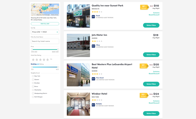 Both sites have a service for booking hotels, with prices typically starting around $100 a night. Costco had more luxury hotels that surpassed $700 a night, while the highest rates on Boxed were around $600. But Boxed was much easier to navigate than Costco — you couldn't even see hotel prices on Costco without entering a membership number.