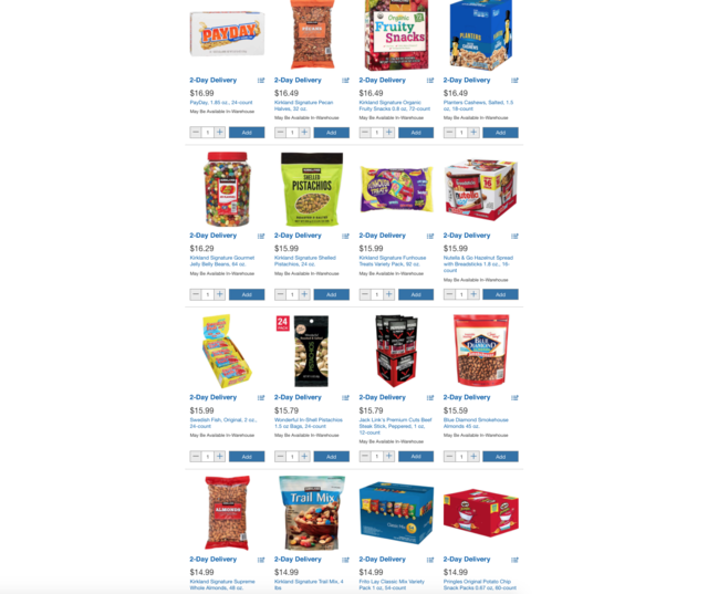 As for the snacks, the prices seemed to be a little bit higher throughout Costco's site.