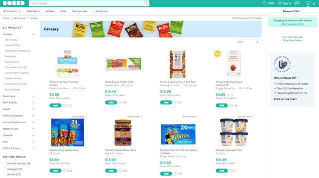 The Boxed grocery landing page is much more user-friendly. The homepage lists popular products, and on the lefthand side are categories like salty snacks, chocolate and candy, condiments and spices, and other more specific categories. Products can also be sorted by brand on both websites, and both offer two-day delivery.