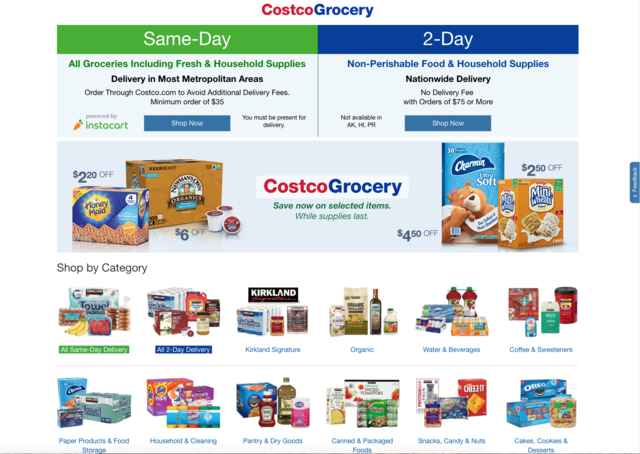 The grocery page on Costco's site, for example, is divided into 18 further categories such as pantry goods, packaged goods, snacks, and cookies. There were a ton of categories, but they were all very broad.