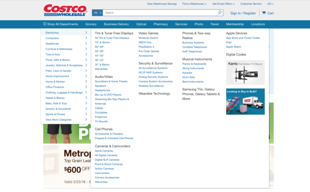 Costco had far more departments on its website, but it was cluttered and hard to navigate compared to Boxed.