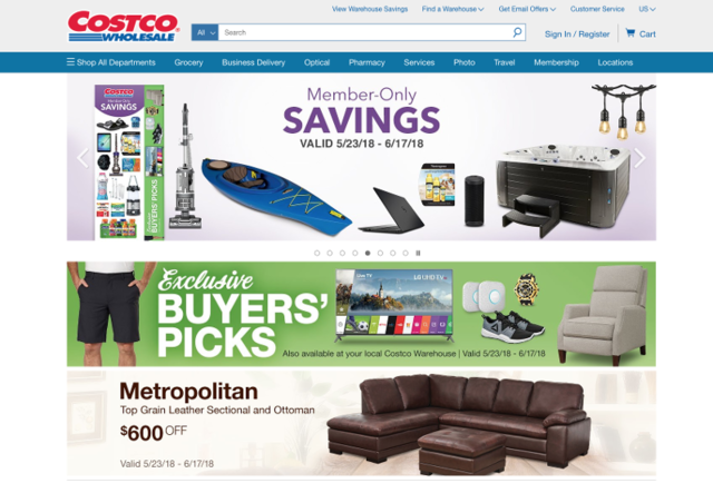 Costco was the first site I went to. On the homepage were members-only savings deals, buyers' picks, and a selection of different featured products in a variety of categories.