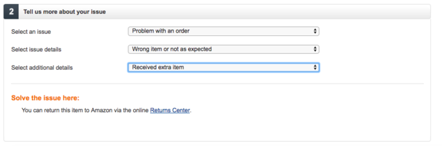 It appears to be a common enough problem that Amazon's customer-service page has a dropdown option for it. I ended up just putting it in the box and shipping it back with the rest of my items.