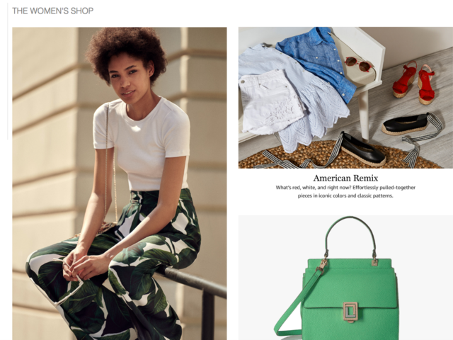 """From the beginning, it seemed obvious that Amazon wants to imitate sites and magazines that consumers might associate with being more high-fashion. Items were assorted into collections, like the 4th-of-July-themed """"American Remix."""""""
