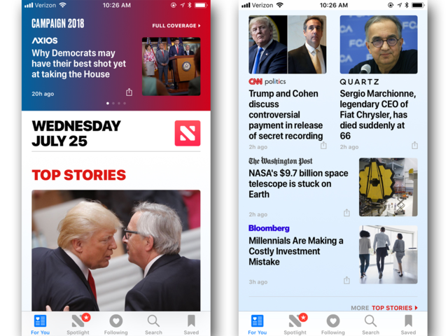 Compared to Google News, the Apple News app has a much busier look and feel.