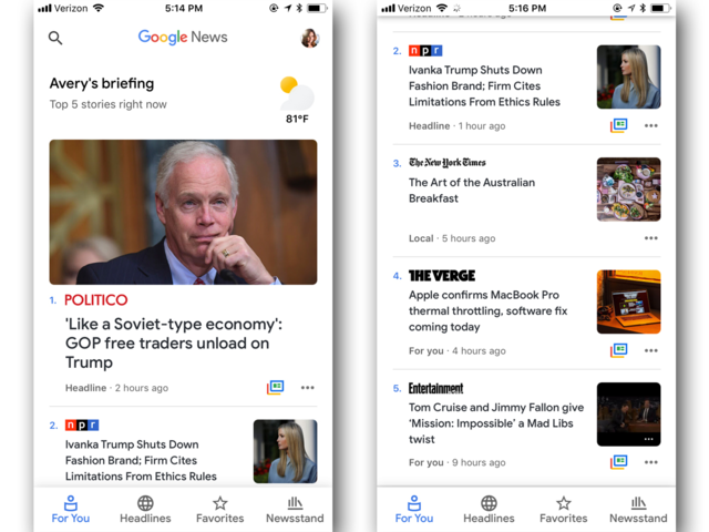 Once inside, the Google News app is clean, simple, and personalized.