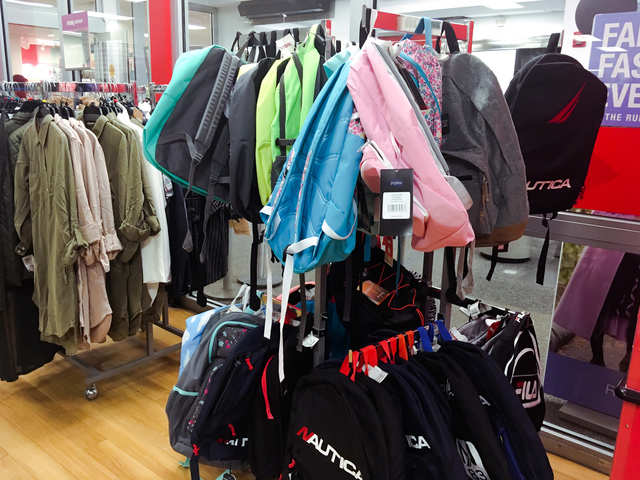 a600c94e42 Right near the entrance were backpacks and back to school deals on t-shirts  and jackets.