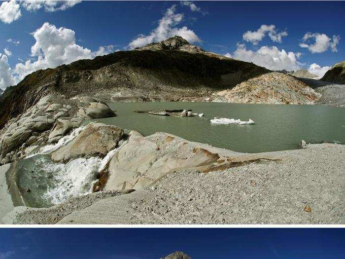 The top photo here shows the Rhone glacier in Switzerland now, while the bottom shows how much more ice there was in 2009.