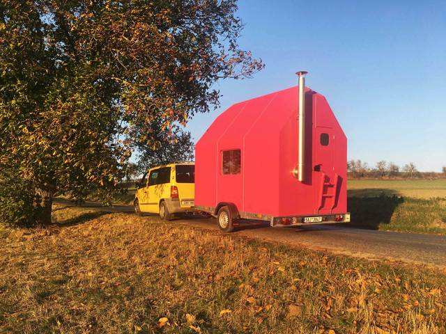 The Magenta is built on a flat trailer, which makes it portable.