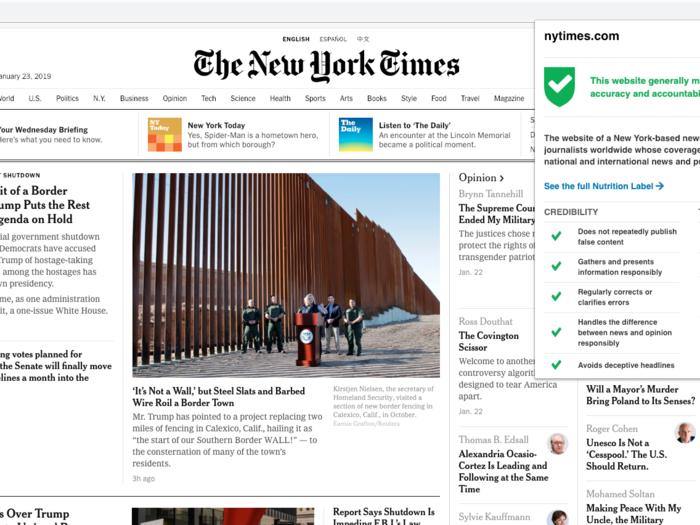 1. The New York Times: Trustworthy!