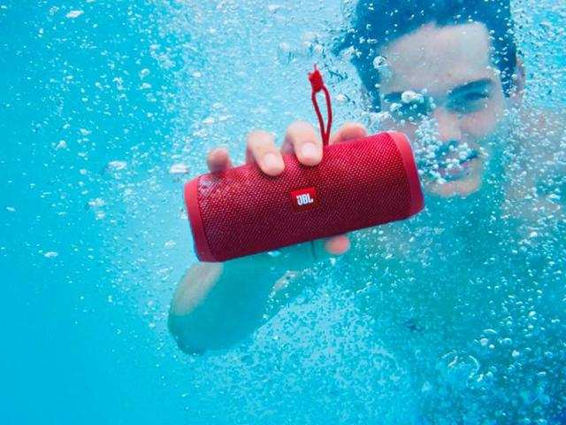 A portable Bluetooth speaker to share your music with others