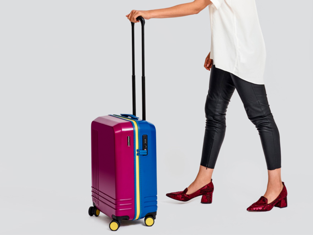 A custom suitcase with over a million color combination options