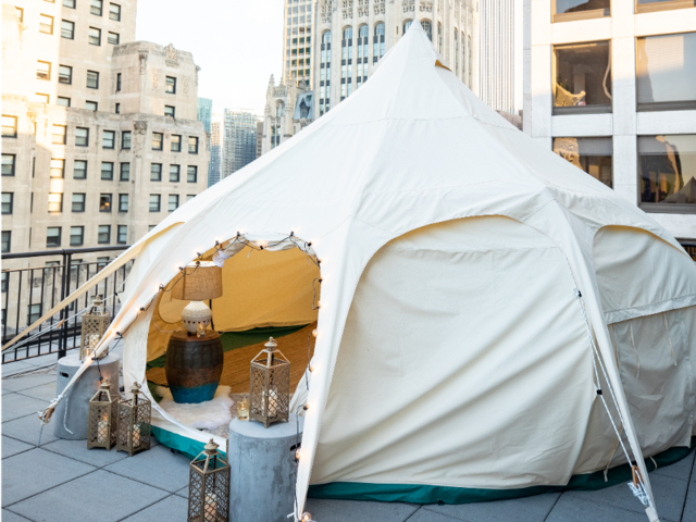 A Chicago hotel has an 'urban glamping' package that puts