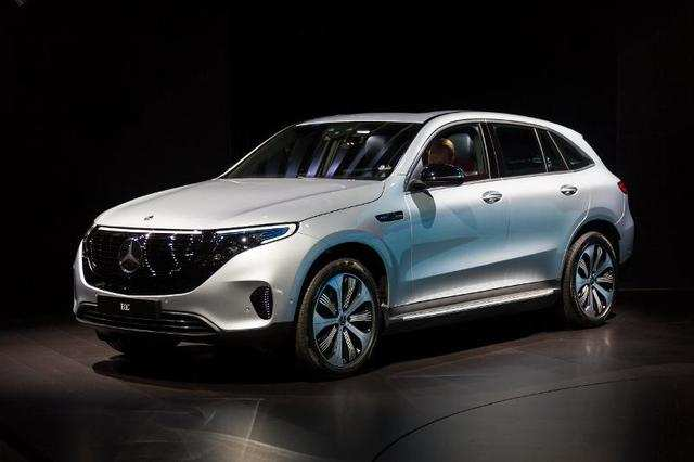 Mercedes-Benz showed off its production electric SUV, the EQC.
