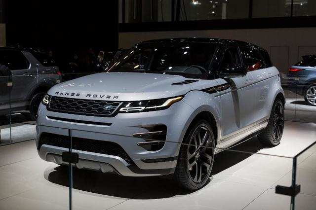 Range Rover's second-generation Evoque compact SUV made an appearance at Jaguar Land Rover's show exhibit.