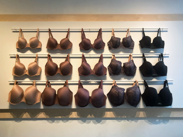 The first bra display is intended to demonstrate the consistency of design regardless of size. When ThirdLove first launched extended sizes in June 2018, Zak said the company made a pact to only roll out a new style if it could be made in every size.