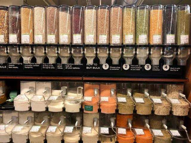 We started off in a section that lets customers fill their own bags with different products. There were dispensers full of beans, spices, and dried fruit.