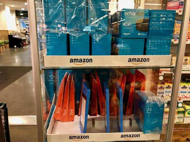 Further into the store, we even found a cart full of Amazon electronic products.
