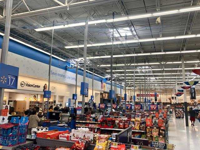 Surprisingly, the check-out lines were short. Walmart's self check-out option likely helped with this.