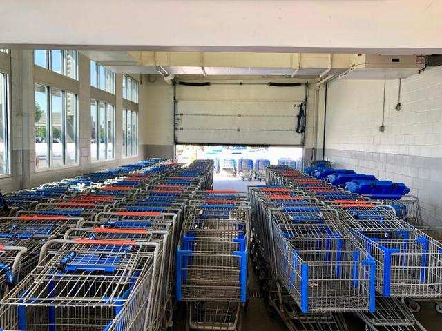 Shoppers don't usually come to Walmart for just one item, so the endless rows of shopping carts awaiting us at the entrance to the superstore were hardly surprising.