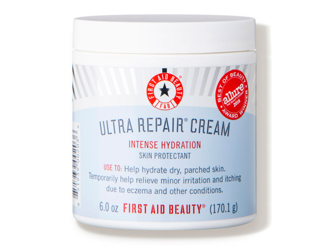 A cream that contains oatmeal extract to prevent flaking and irritation