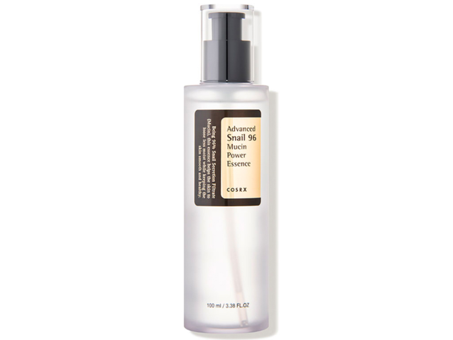 A bouncy serum containing 96% snail mucin, which repairs and hydrates your skin