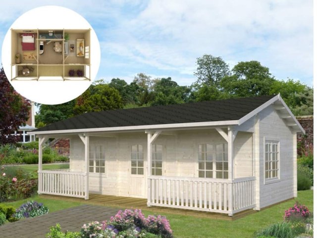 Some of the tiny homes on Amazon come with extensive front porches, like the WNC Tiny Home Jackson model.