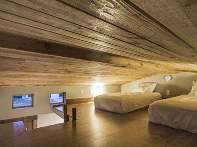 The slanted roof makes hitting your head a strong possibility, and standing up in a lofted bedroom like this is entirely out of the question.
