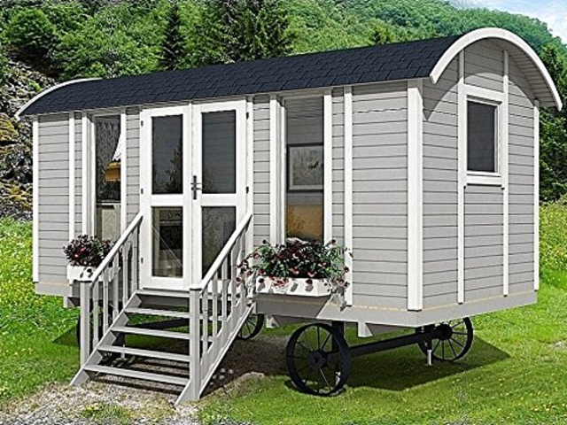If you're feeling a more Oregon Trail-wagon vibe, Allwood inexplicably offers a tiny home inspired by that. The Allwood Mayflower costs $7,790, and the listing says it only takes two days to build.