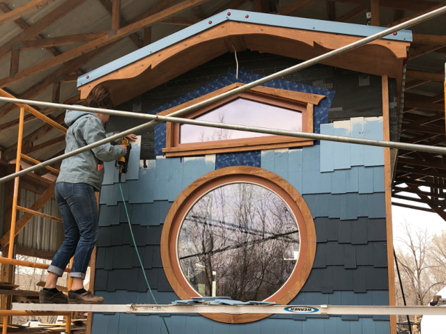 """Parham says they have cool customers who desire unique designs. """"There are several trailer lengths to choose from, several roof shapes, endless material possibilities,  and endless possibilities for creative solutions to functional needs, such as a piece of furniture that can function as a table, a desk, and a bed,"""" he said."""