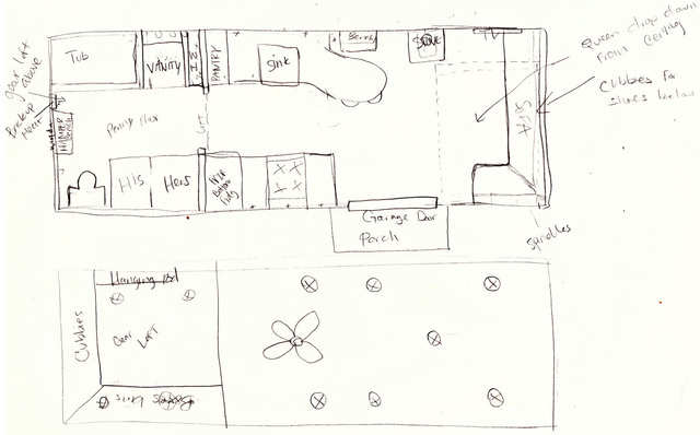 Sometimes customers provide Parham with hand-drawn sketches, links to tiny house builds they like with written descriptions of changes they want made, or detailed 2D- or 3D-computer generated plans.