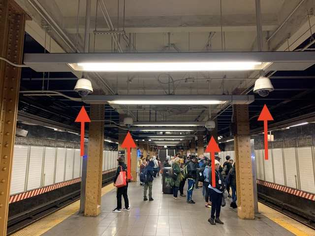 Wandering around the bottom platform, it appeared security had decided platform ends needed the most surveillance. And they didn't hold back. While this photo shows four cameras, I counted eight at each end.