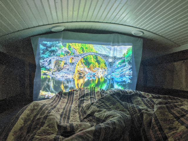 "But their favorite tiny hack was putting a projector in their loft — no need for a TV here. ""This totally makes up for the small couch in our home,"" they said."