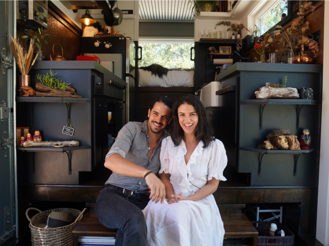 Bela and Spencer Fishbeyn live in a 300-square foot tiny house in California's Santa Cruz Mountains.