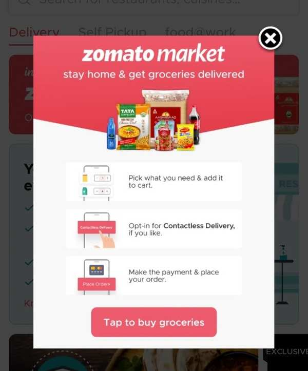 Zomato market for grocery shoping in india