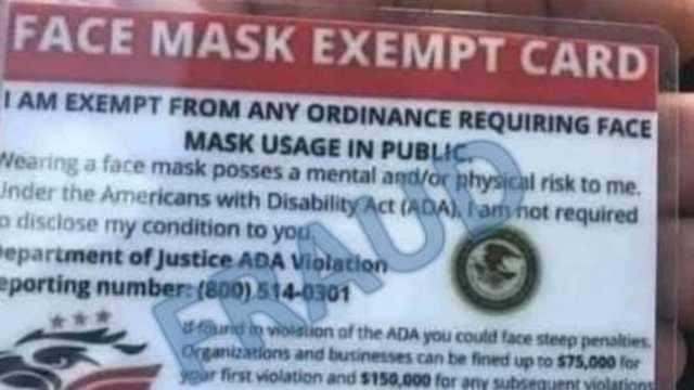 The Face Mask Exempt Id Cards Circulating Online Are Completely Fake Business Insider India