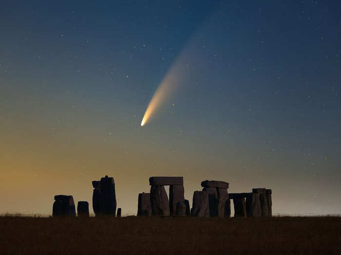 Comet NEOWISE spotted over the Stonehenge in the UK