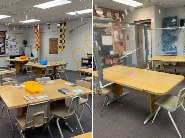 Before-and-after photos show how the pandemic has changed classroom setups