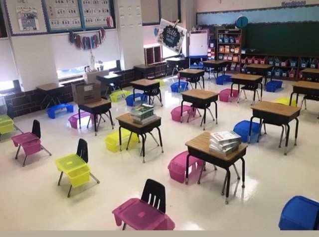 Now, movement is more restricted and desks are spaced out as much as possible.