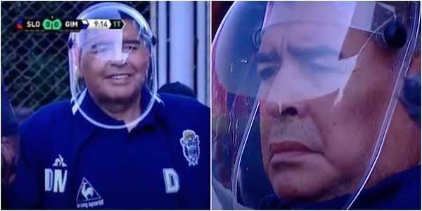 Diego Maradona wore an astronaut-like COVID face shield ...