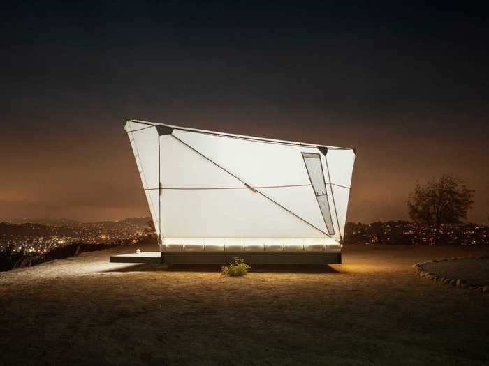 """Jupe is made of interconnected aluminum masts that provide support for the geometric shape that's designed to be reminiscent of an """"interstellar shuttle."""""""