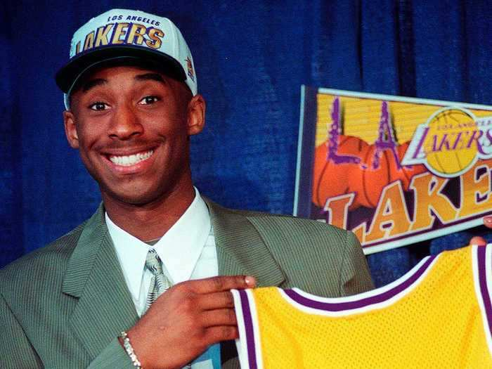 Kobe Bryant was selected with the 13th overall pick, which the Lakers acquired from the Hornets.