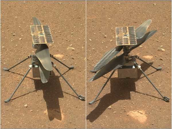 The Ingenuity Mars helicopter's blades are spinning ahead ...